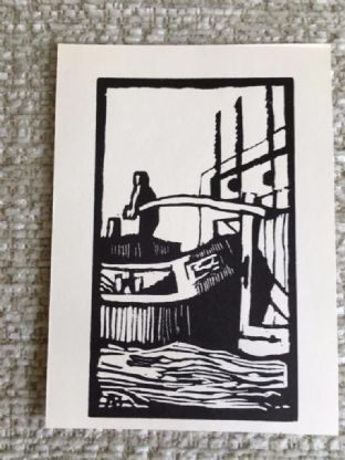 Monkey Barge and Canal Locks, 1926 Linocut print. Image 5.5x8cm Card Size 7x9cm